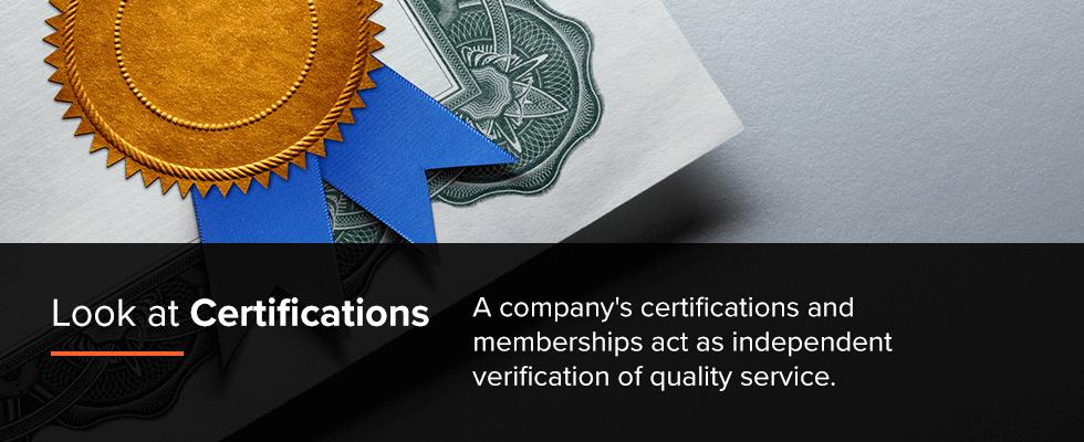 Check Certifications of Garage Door Companies